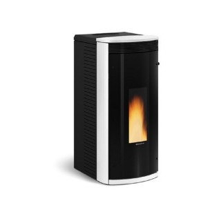 Extraflame Stufa a Pellet Sibilla con vetro nero riflettente colore bianco con telecomando e cronotermostato sett. 1280701 La...
