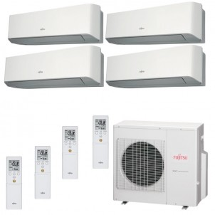 Fujitsu Condizionatore Quadri Split Parete Gas R410A Serie LM 9+9+12+12 Btu 2x ASYG09LMCE 2x ASYG12LMCE AOYG30LAT4 A+/A+