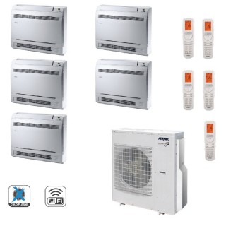 AERMEC Condizionatore Penta Split Pavimento Gas Wi-Fi R-32 Serie MLG-FS 9+9+9+9+12 Btu 5x MLG250FS MLG1250 A++/A+ Aermec