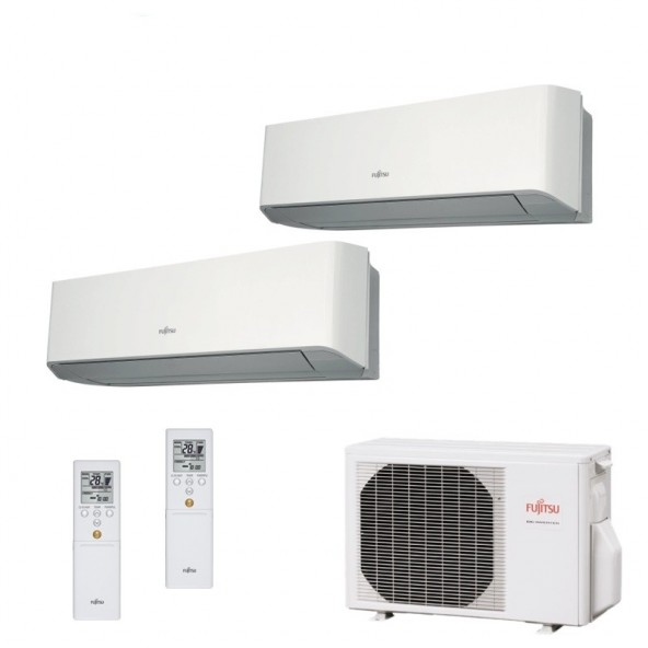 Fujitsu Condizionatore Dual Split Parete Gas R410A Serie LM 7000+9000 Btu ASYG07LMCE ASYG09LMCE AOYG14LAC2 A++/A+ 7+9 Fujitsu