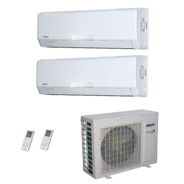 AERMEC Condizionatore Dual Split Parete Gas R-410a Serie SE-W 9000+12000 Btu SE260W SE351W MKM520 A++/A+ 9+12 Aermec