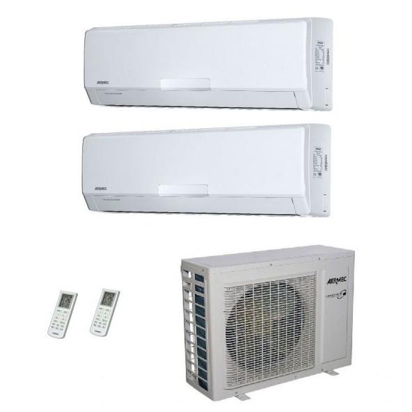 AERMEC Condizionatore Dual Split Parete Gas R-410a Serie SE-W 12000+12000 Btu SE351W SE351W MKM630 A++/A+ 12+12 Aermec