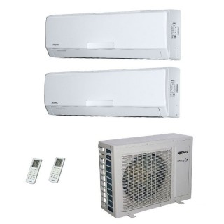 AERMEC Condizionatore Dual Split Parete Gas R-410a Serie SE-W 12000+18000 Btu SE351W SE500W MKM630 A++/A+ 12+18 Aermec