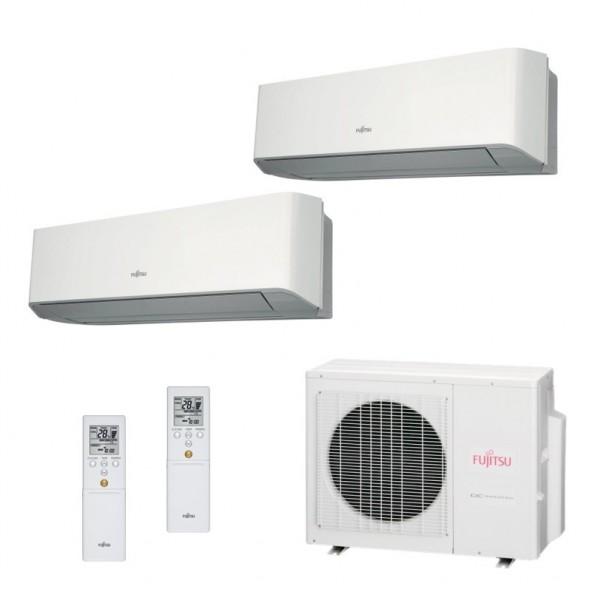 Fujitsu Condizionatore Dual Split Parete Gas R410A Serie LM 7000+12000 Btu ASYG07LMCE ASYG12LMCE AOYG18LAC2 A++/A+ 7+12 Fujitsu