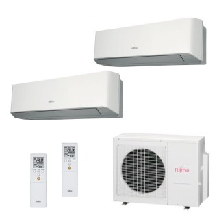 Fujitsu Condizionatore Dual Split Parete Gas R410A Serie LM 12000+15000 Btu ASYG12LMCE ASYG14LMCE AOYG18LAT3 A++/A+ 12+15 Fuj...