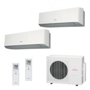 Fujitsu Condizionatore Dual Split Parete Gas R410A Serie LM 12000+15000 Btu ASYG12LMCE ASYG14LMCE AOYG18LAT3 A++/A+ 12+15
