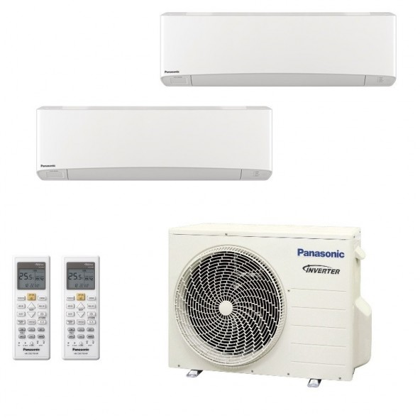 Panasonic Condizionatore Dual Split Gas R-32 Serie Z Etherea Bianco 7000+7000 Btu CU-2Z41TBE WiFi Opzionale A+++/A++ Panasonic