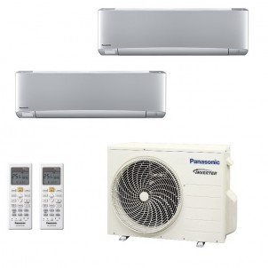 Panasonic Condizionatore Dual Split Gas R-32 Serie XZ Etherea Argento 9000+12000 Btu CU-2Z41TBE WiFi Opzionale A+++/A++