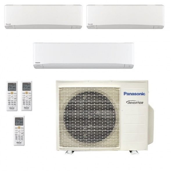 Panasonic Condizionatore Trial Split Gas R-32 Serie Z Etherea Bianco 7000+7000+18000 Btu CU-3Z52TBE WiFi Opzionale A+++/A+ Pa...