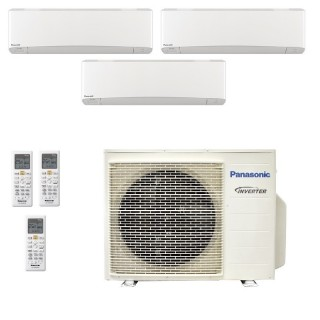 Panasonic Condizionatore Trial Split Gas R-32 Serie Z Etherea Bianco 7000+7000+12000 Btu CU-3Z68TBE WiFi Opzionale A++/A+ Pan...