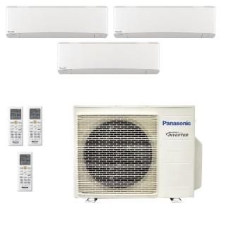 Panasonic Condizionatore Trial Split Gas R-32 Serie Z Etherea Bianco 7000+7000+15000 Btu CU-3Z68TBE WiFi Opzionale A++/A+ Pan...