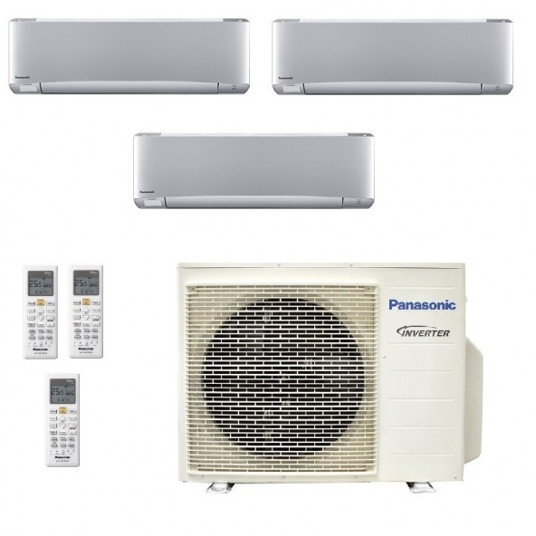 Panasonic Condizionatore Trial Split Gas R-32 Serie XZ Etherea Argento 9000+9000+9000 Btu CU-3Z68TBE WiFi Opzionale A++/A+ Pa...