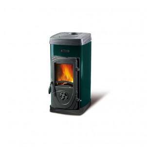 La Nordica Stufa a Legna serie Bruciatutto Super Max rivestimento esterno acciaio smaltato colore Verde 7111082