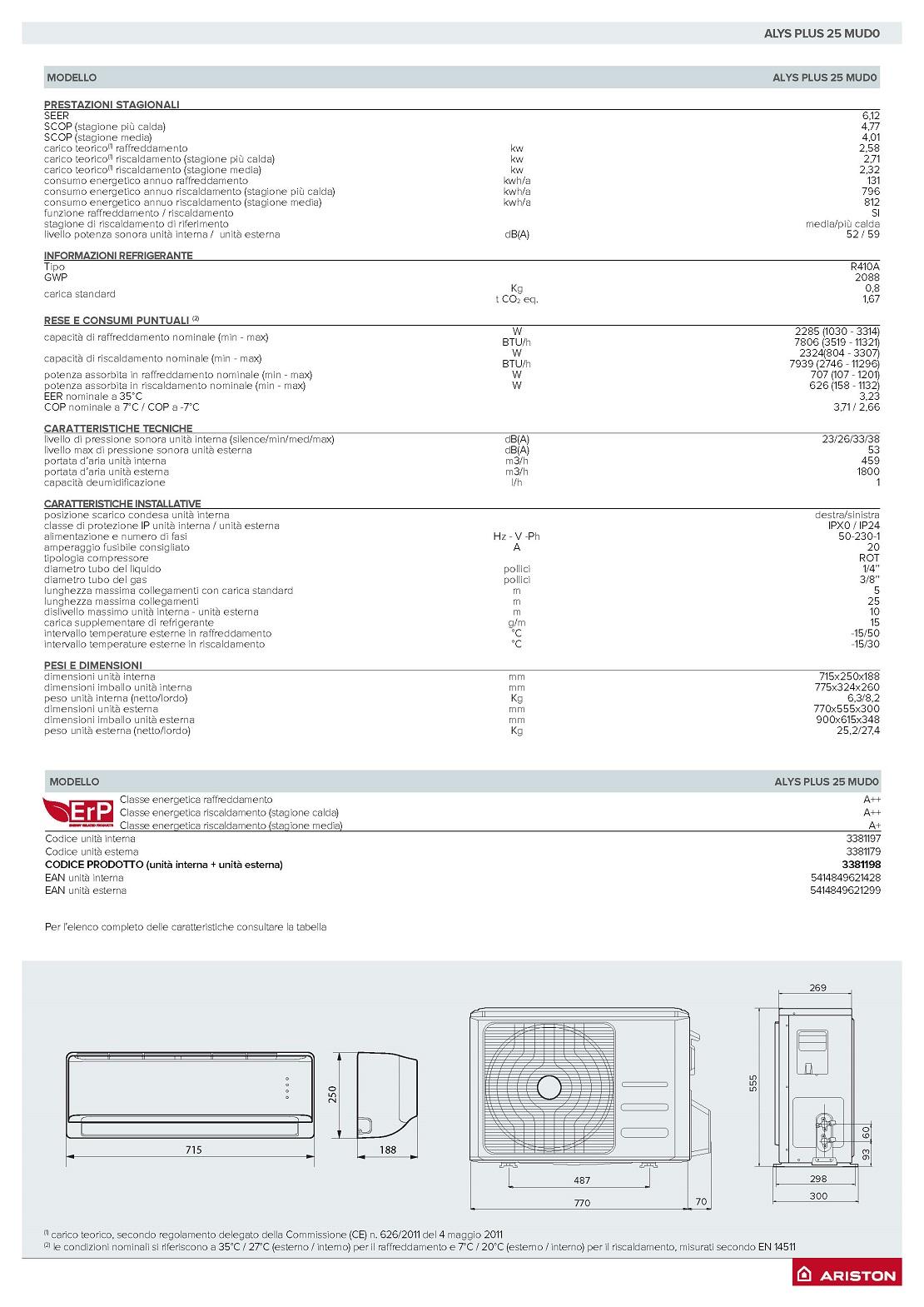 Condizionatore Ariston Mono Split 9000 Btu Serie ALYS Plus A++/A+