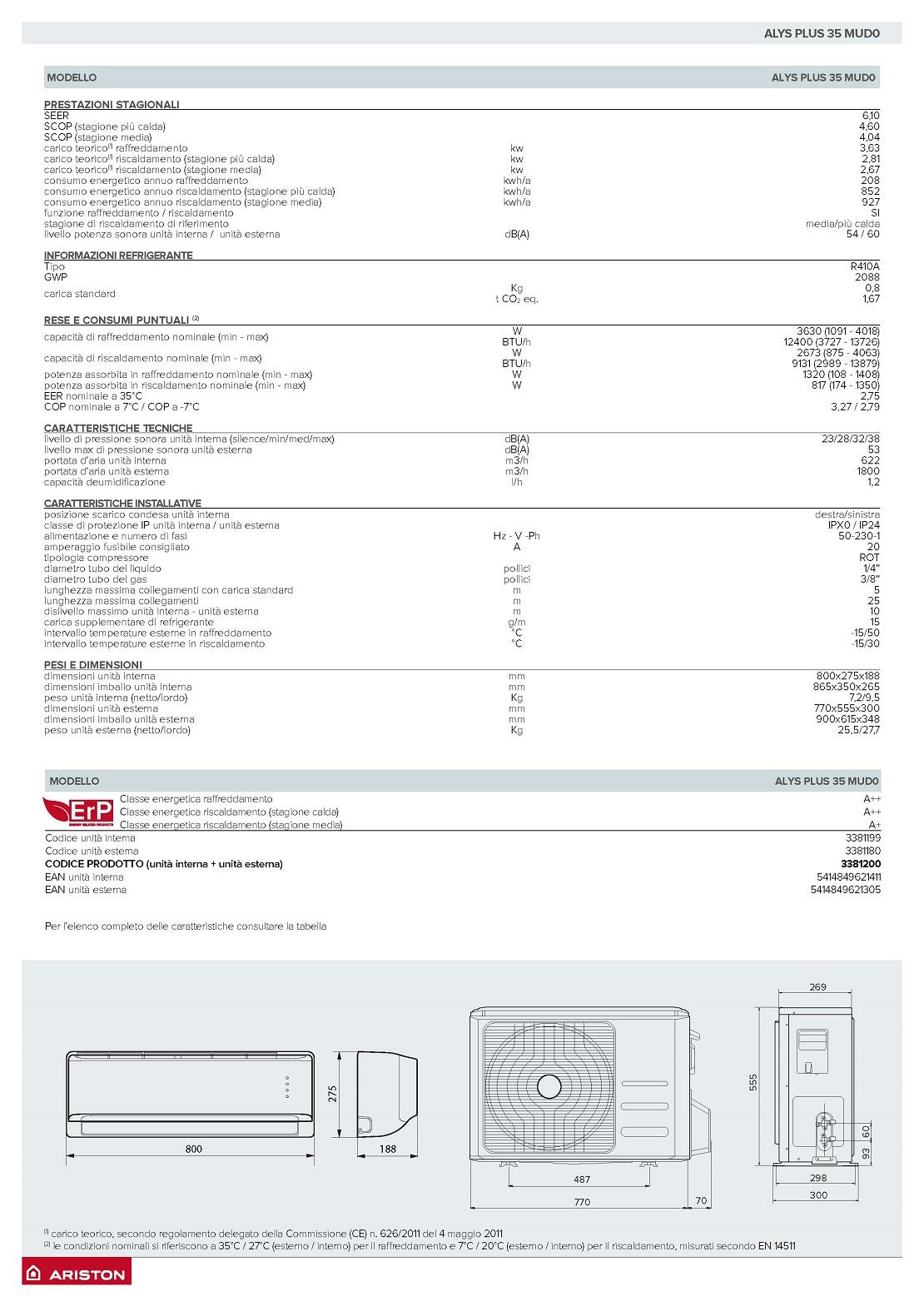 Condizionatore Ariston Mono Split 12000 Btu Serie ALYS Plus A++/A+