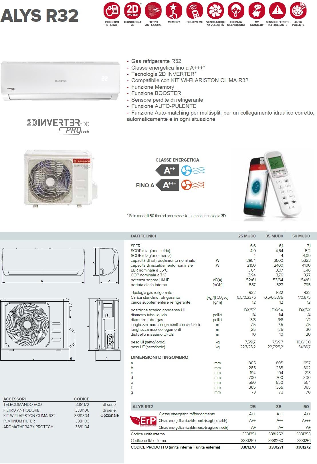 Condizionatore Ariston Mono Split 9000 Btu Serie ALYS R32 A++/A+
