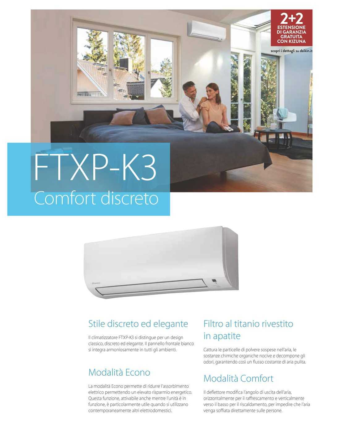 Condizionatore Daikin Mono Split 18000 Btu Serie FTXP-K3 A++/A+
