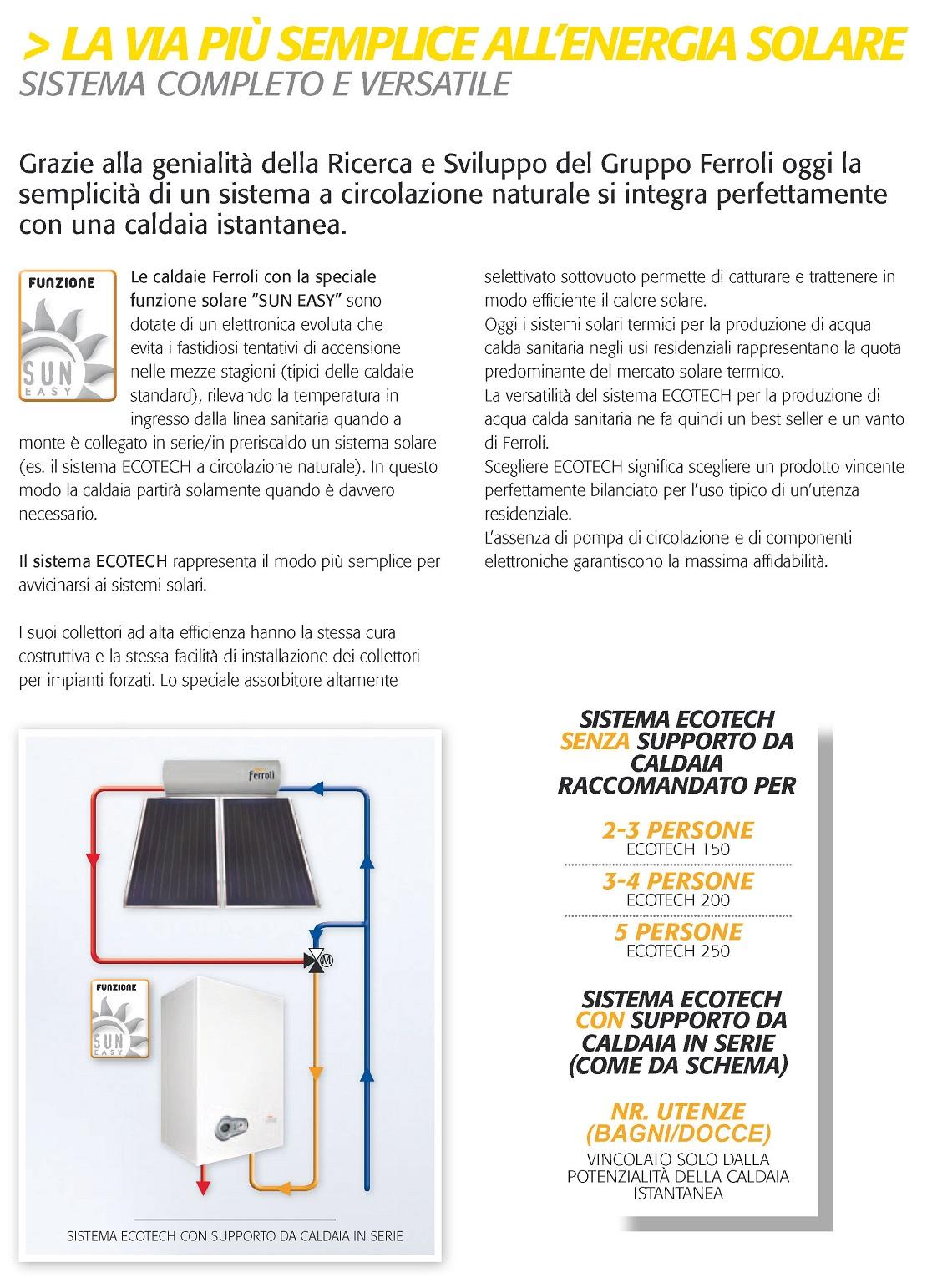 Pannello Solare Termico Ferroli 200 Litri Modello Ecotech 200