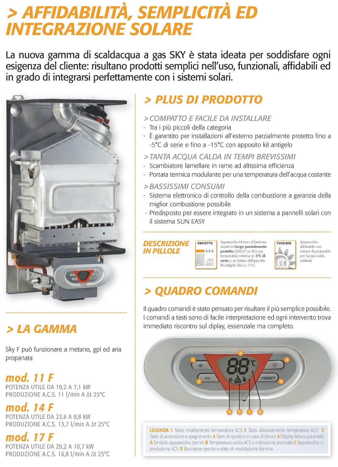 Scaldabagno a Gas Ferroli Serie SKY-F 14 Litri Murale Gas Metano
