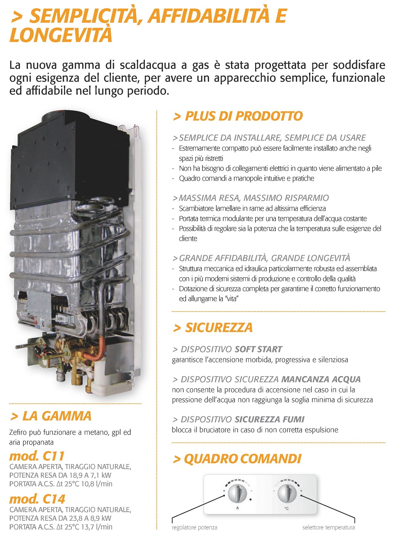 Scaldabagno a Gas Ferroli Serie Zefiro 11 Litri Murale Gas Metano