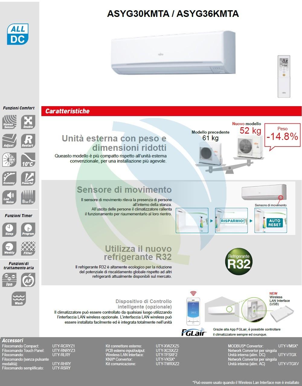 Klimaanlagen Fujitsu Mono Split 36000 Btu ASYG36KMTA AOYG36KMTA