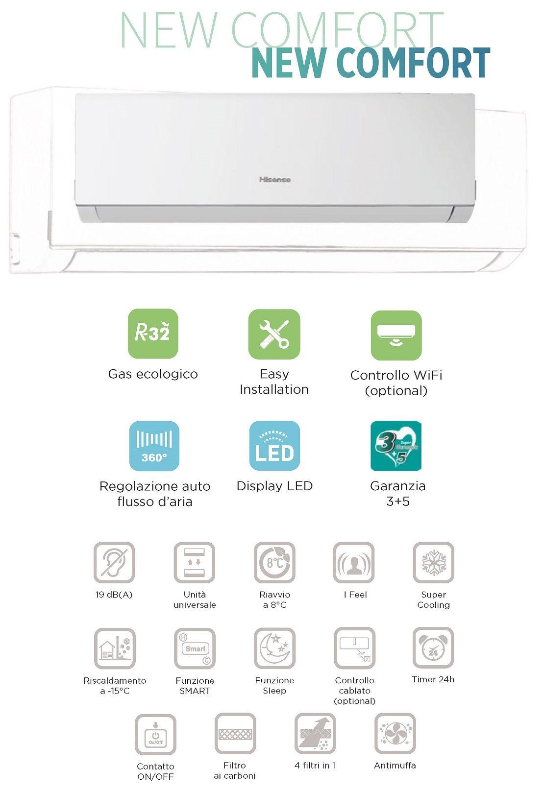 Condizionatore Hisense Mono Split 24000 Btu Serie New Comfort A++/A+