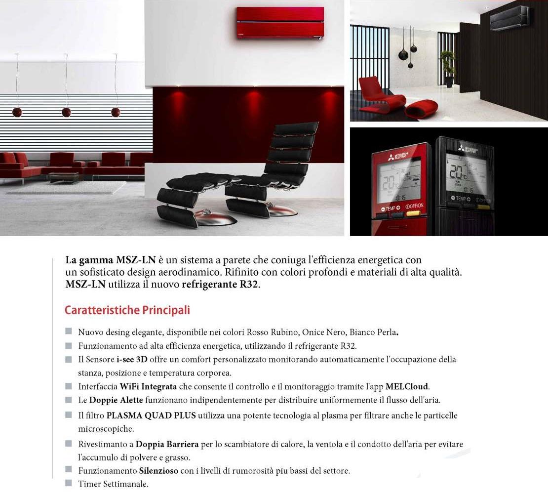 Condizionatore Mitsubishi Mono Split 12000 Btu Rosso Rubino A+++/A+++